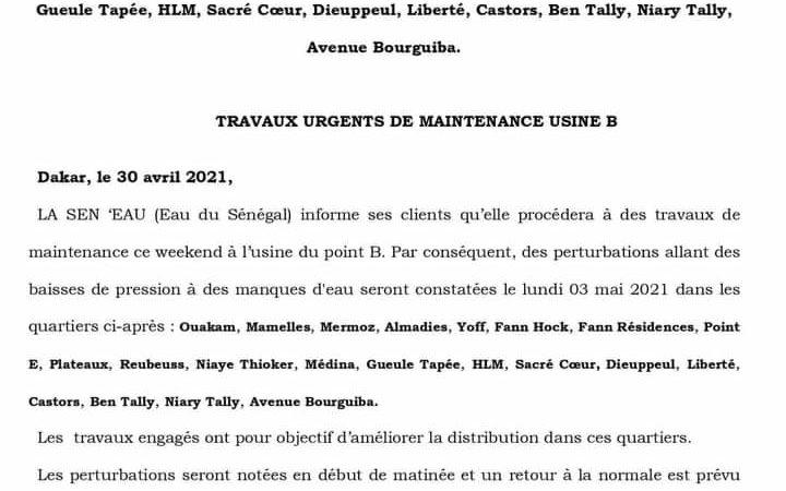 Sen'Eau annonce des perturbations dans des quartiers de Dakar